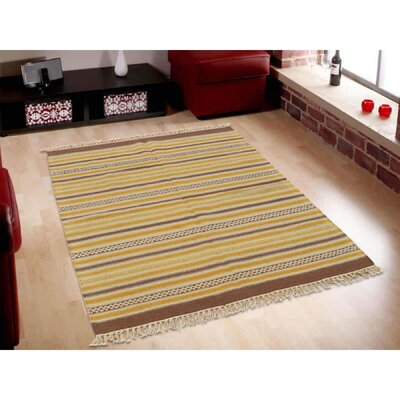 Striped Flat Weave Durie Kilim Reversible Hand-Knotted Wool Light Brown/Beige Area Rug