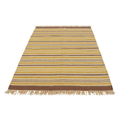 Striped Durie Kilim Reversible Flat Weave Hand-Knotted Wool Light Brown/Beige Area Rug