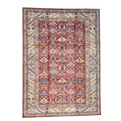 One-of-a-Kind Tillman Super Geometric Oriental Hand-Knotted Area Rug