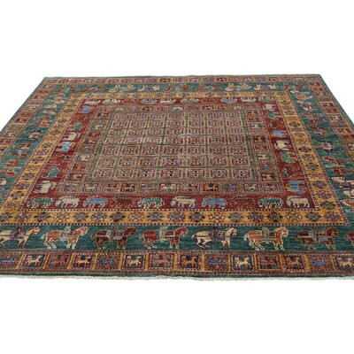 Pazyryk Hand-Knotted Wool Red Area Rug