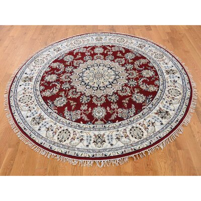 300 KPSI Nain Hand-Knotted Silk Red Area Rug