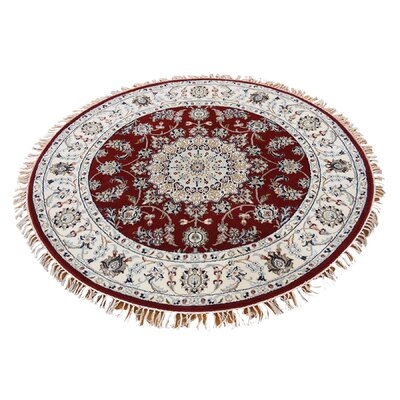 300 KPSI Nain Oriental Hand-Knotted Silk Red Area Rug