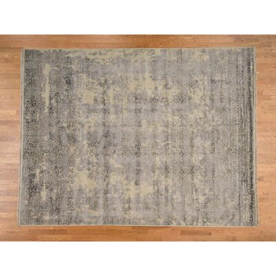 Tone on Tone Broken Mughal Hand-Knotted Silk Gray Area Rug