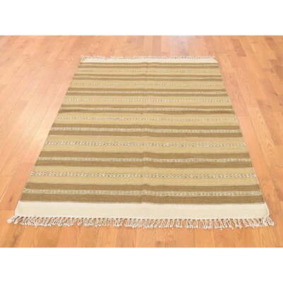 Reversible Striped Durie Kilim Flat Weave Hand-Knotted Beige/Light Brown Area Rug