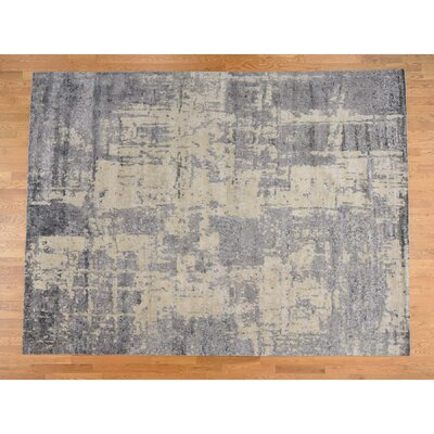 Abstract Oriental Hand-Knotted Silk Purple Area Rug