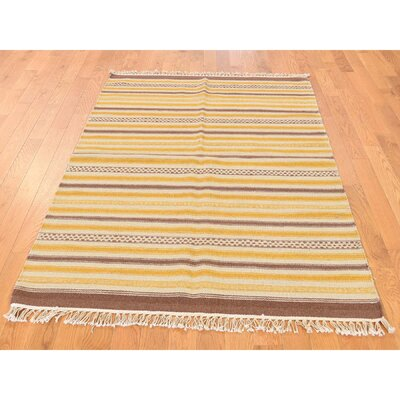 Flat Weave Striped Durie Kilim Reversible Hand-Knotted Brown/Yellow Area Rug