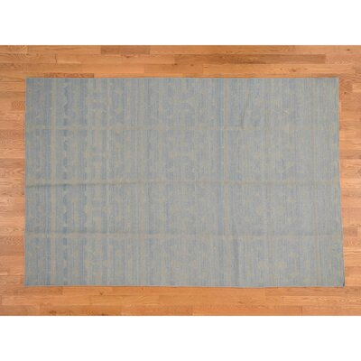Reversible Kilim Flat Weave Hand-Knotted Blue Area Rug
