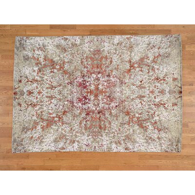 Abstract Oriental Hand-Knotted Silk Beige Area Rug