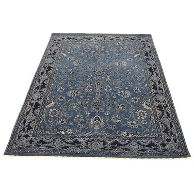 One-of-a-Kind Salyers Tone on Tone Oriental Hand-Knotted Silk Blue Area Rug