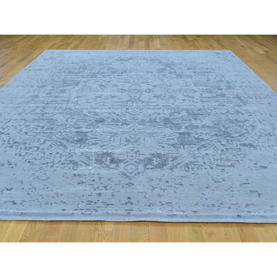 One-of-a-Kind Orlane Broken Tone on Tone Hand-Knotted Silk Area Rug