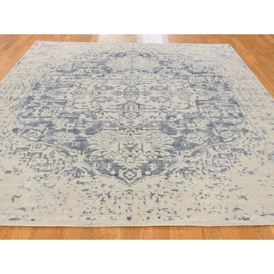 One-of-a-Kind Orobanche Broken Heriz Oriental Hand-Knotted Silk Area Rug