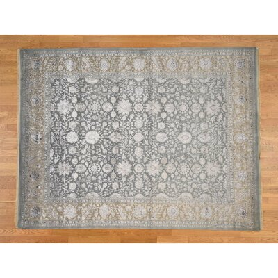 One-of-a-Kind Salzer 300 Kpsi Tone on Tone Hand-Knotted Silk Area Rug