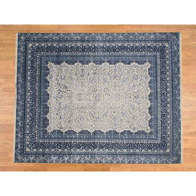 One-of-a-Kind Salzer Tone-on-Tone 300 Kpsi Hand-Knotted Silk Area Rug