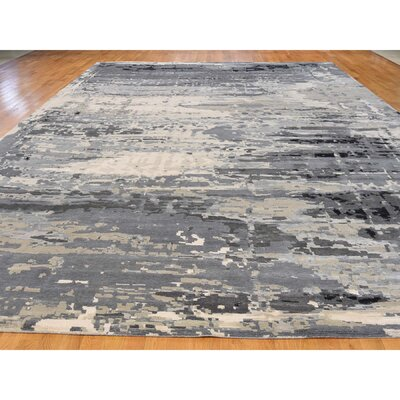 Abstract Hand-Knotted Silk Gray Area Rug