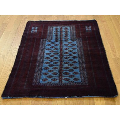 Overdyed Afghan Baluch Hand-Knotted Blue Area Rug