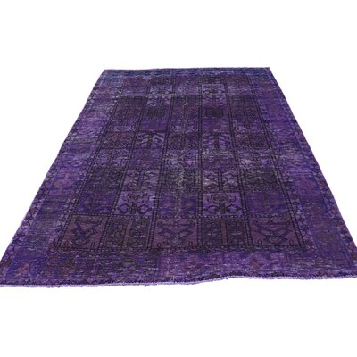 Bakhtiari Overdyed Worn Oriental Hand-Knotted Purple Area Rug