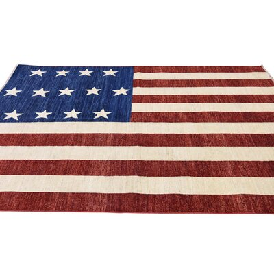Civil War Flag Oriental Hand-Knotted Blue/Maroon Area Rug