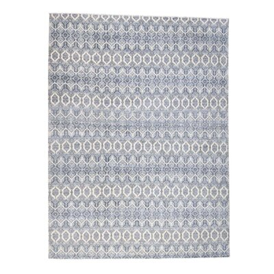 Ikat Geometric Oriental Hand-Knotted Gray Area Rug