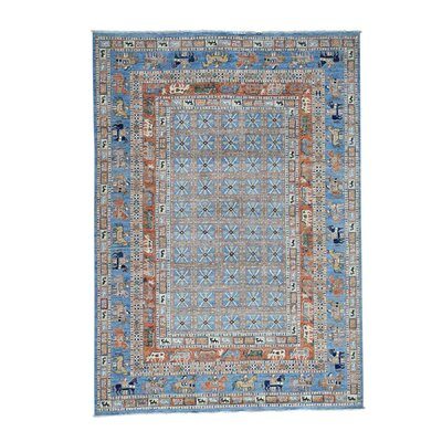 Pazyryk Historical Hand-Knotted Blue Area Rug Rug Size: Rectangle 63 x 9