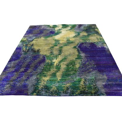 Abstract Oriental Hand-Knotted Silk Purple/Green Area Rug