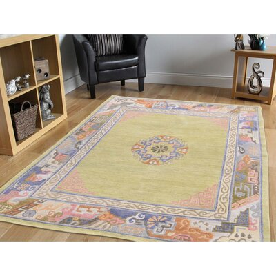 Tibetan Soft Luurious Oriental Hand-Knotted Wool Green Area Rug
