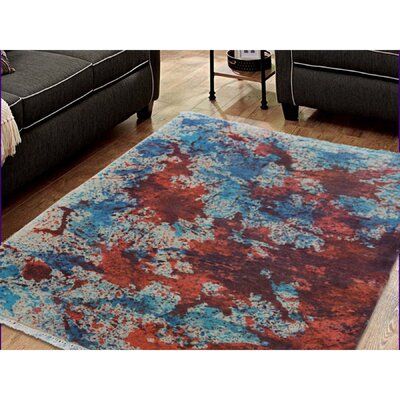Abstract Tie Dye Nepali Oriental Hand-Knotted Wool Ivory/Orange Area Rug
