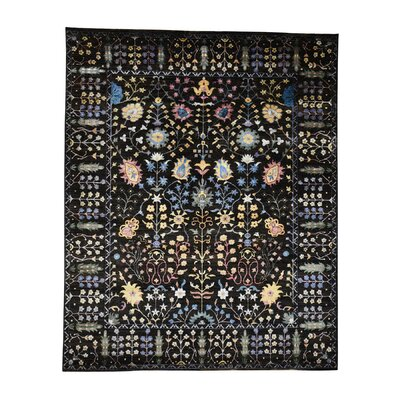 Crafts Oriental Hand-Knotted Silk Black Area Rug