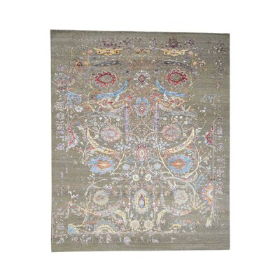 Sickle Leaf Oidized Hand-Knotted Silk Gray Area Rug