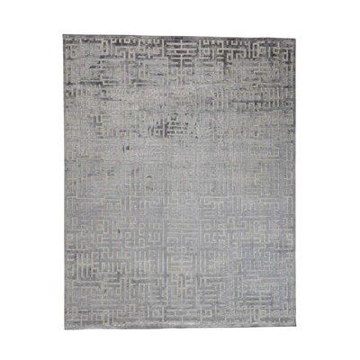 Oidized Maze Oriental Hand-Knotted Silk Gray Area Rug