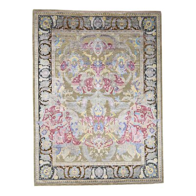 Crafts Oidized Oriental Hand-Knotted Silk Beige Area Rug