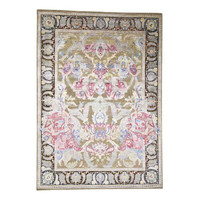 Oidized Crafts Oriental Hand-Knotted Silk Beige Area Rug