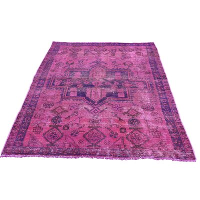 One-of-a-Kind Govan Vintage Overdyed Hamadan Hot Oriental Hand-Knotted Silk Area Rug