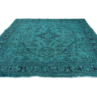 One-of-a-Kind Kendrick Vintage Overdyed Bibikabad Oriental Hand-Knotted Silk Area Rug
