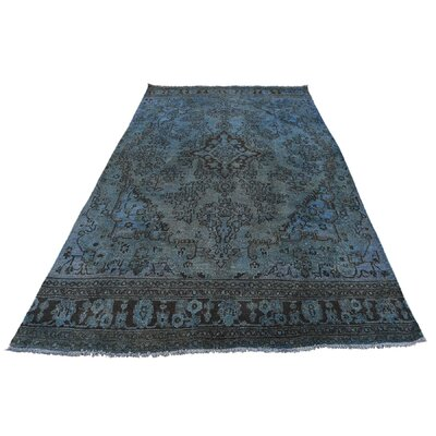 One-of-a-Kind Laursen Vintage Overdyed Bibikabad Fragment Hand-Knotted Silk Area Rug