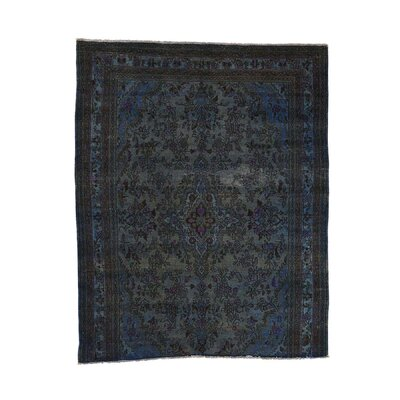 One-of-a-Kind Lear Vintage Overdyed Bibikabad Fragment Hand-Knotted Silk Blue Area Rug