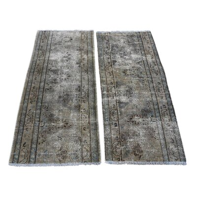 One-of-a-Kind Lear Pair of Vintage Overdyed Fragments Hand-Knotted Area Rug