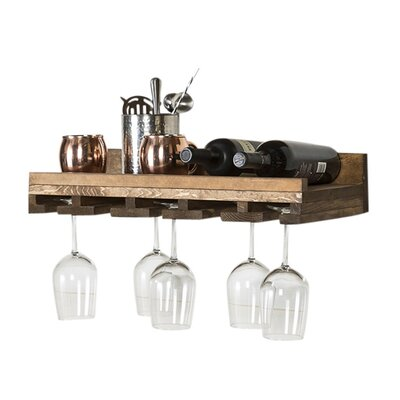 Oconner Wall Mounted Wine Glass Rack Size: 6 H x 24 W x 10 D