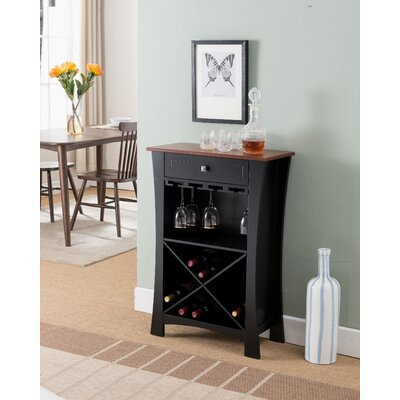 Kincer 20 Floor Wine Rack Finish: Black Natural