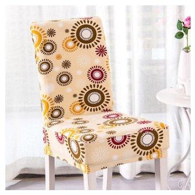 Elegant Box Cushion Dining Chair Slipcover Upholstery: Orange Happy Hour