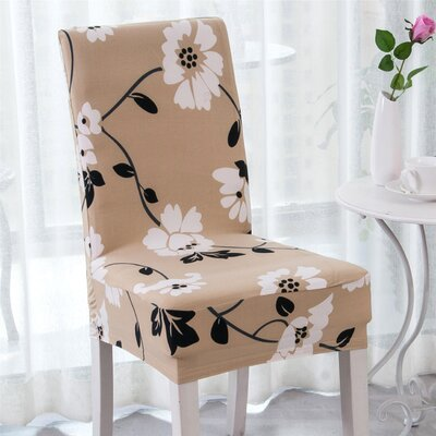 Elegant Box Cushion Dining Chair Slipcover Upholstery: Coffee Jasmine Flower