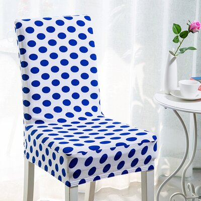 Elegant Box Cushion Dining Chair Slipcover Upholstery: Blue Dots