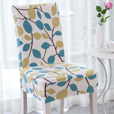 Elegant Box Cushion Dining Chair Slipcover Upholstery: Green Season Flower