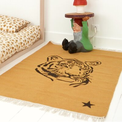One-of-a-Kind Deerfin Tiger Hand-Woven Cotton Yellow Area Rug