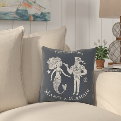 Holmquist Marry A Mermaid Blue Outdoor Throw Pillow Size: 16 x 16