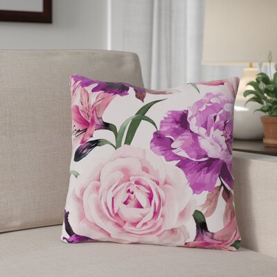 Willey A Floral Afternoon Periwinkle Outdoor Throw Pillow Color: Magenta