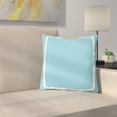 Biller Simple Square Outdoor Throw Pillow Color: Aqua White, Size: 18 x 18