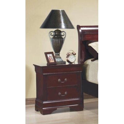 Tina 2 Drawer Nightstand Color: Red Brown