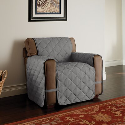 Microfiber Solid Ultimate Protector T-Cushion Armchair Slipcover Upholstery: Gray