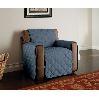 Microfiber Solid Ultimate Protector T-Cushion Armchair Slipcover Upholstery: Slate Blue