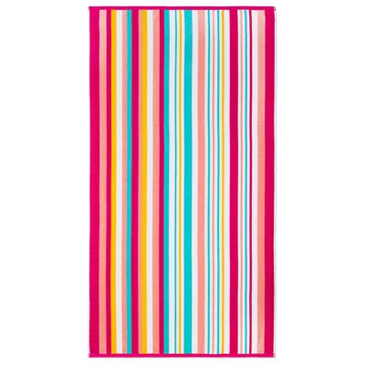 Ramonne Dobby Stripe Fruit Punch Beach Towel